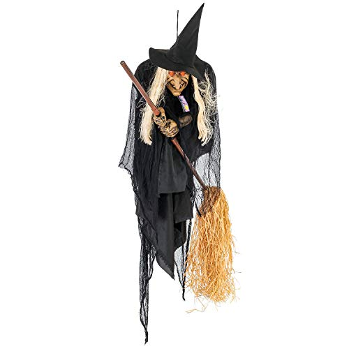 Halloween Haunters Flying Witch on Broom - Thick Rubber Latex Prop Decoration by Halloween Haunters