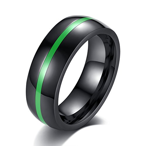 ainless Steel Thin Line Polished Finish Wedding Band Ring for Men Women, 4 Color (Green, 9) ()