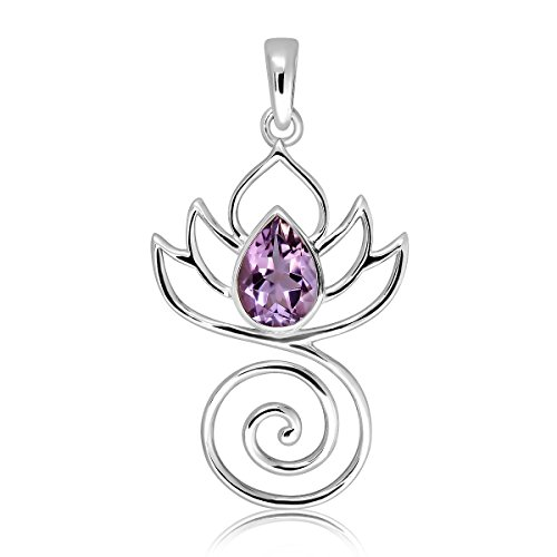WithLoveSilver 925 Sterling Silver Natural Amethyst Charm Buddha Swirl Lotus Flower Design Pendant ()