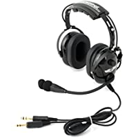 Rugged Air RA900 Black General Aviation Stereo Pilot Headset with Flex Boom