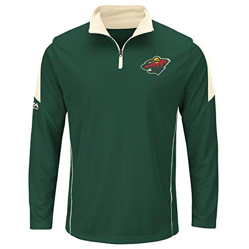 NHL Minnesota Wild Men's Status Inquiry Fashion Tops, Dark Green/Natural, (Majestic Minnesota Wild Green)