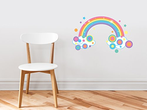 (Sunny Decals Rainbow Fabric Wall Decal, Sparkling Rainbow with Polka Dots and Stars in Pastel Colors, Repositionable, Reusable, Three Size Options)