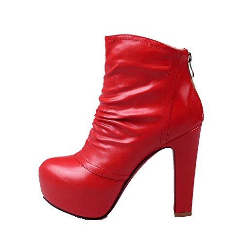 Agoolar Kvinnor Fasta Kick-häl Rund Sluten Tå Pu Zipper Stövlar Röda