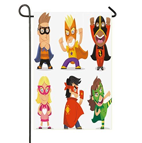HOOSUNFlagrbfa Children Dressed as Superheroes Kids Playroom Girls Boys Nursery Babyish Picture Garden Flag Welcome Decorative Flags for Party Yard and Home Outdoor Decor -