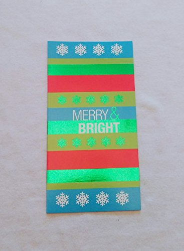 Christmas Money or Gift Card Holder Cards - Set of 8 with Metallic/Glitter Accents (Merry & Bright)