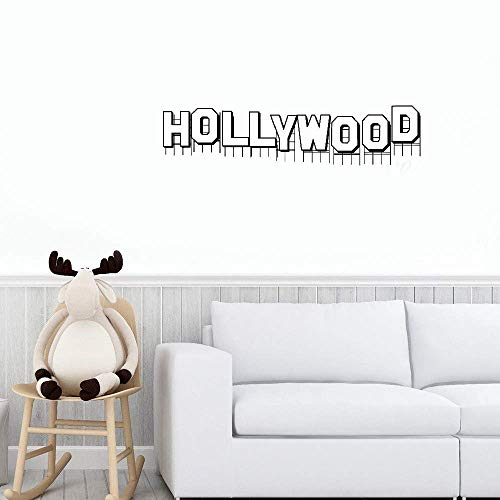 Teadyi Wall Stickers Vinyl Words Sayings Removable Lettering Hollywood Sign Iconic Living Room -