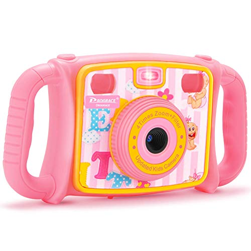 PROGRACE Kids Camera Creative Camera 1080P HD Video Recorder Digital Action Camera Camcorder for Boys Girls Gifts 2.0 LCD Screen with 4X Digital Zoom and Funny Game(Pink)