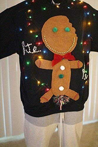 Amazoncom New Lite Up Ugly Christmas Sweater Men Gingerbread Man