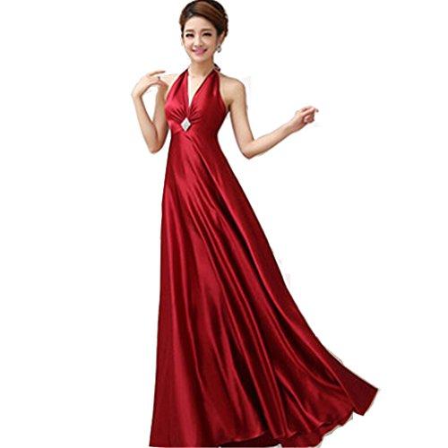 Sposa Delle Scapolare Da Donne Con Eleganti A Lunghi Sottili V Rosso Abito Cingolo Vestiti Scollo wUwvrOq