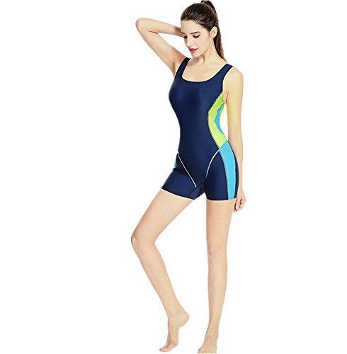 MIAO Mujeres traje de baño de una pieza plana de cortocircuitos de ángulo Movimiento Profesión de gran tamaño Beach Swimwear Navy