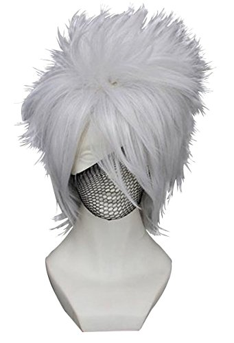 Anogol Hair Cap+Fancy Dress Silver Cosplay Men's Wig Short Layered Wigs for Party