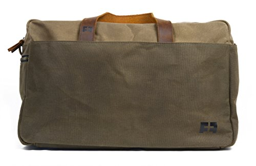the DUFFEL | Waxed Cotton Canvas Duffel Bag with Leather Handles by FAT FELT