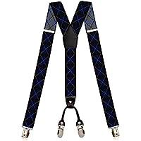 Suspensório de elástico preto desenhos geométricos azul marinho e bra