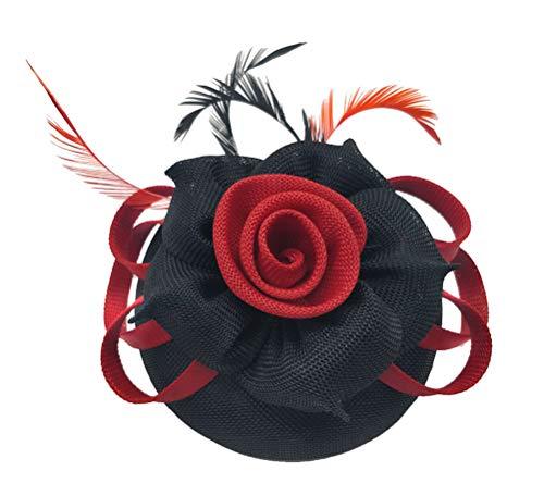 (Fascinator Sinamay Rose Flower Pillbox hat Headband Tea Party Kentucky Derby (G Black red))