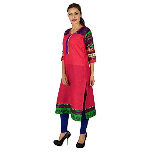 Diseñador indio de Bollywood Kurta Mujeres étnico regalo vestido de la túnica Kurti camiseta de algodón casual para ella El rojo carmesí y azul