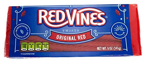 Licorice Black Calories (Red Vines Licorice, Original Red Flavor, 5oz Tray, Soft & Chewy Candy Twists)
