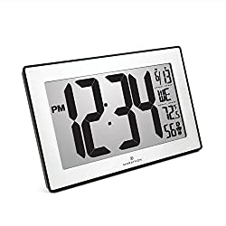 Marathon New Introductory Price CL030068BK-SS Atomic Self-Setting Self-Adjusting Wall Clock with Stand & 8 timezones - Batteries Included (Black Frame/Stainless Steel Finish Slim Bezel)