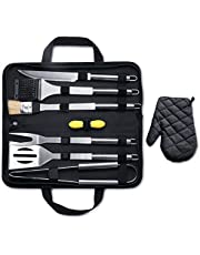 MARNUR BBQ Tools BBQ Accessories Heavy Duty Stainless Steel 7-Piece Spatula Fork Grill Brush Tongs with Portable Case for Camping Grilling Picnic and Home Kitchen