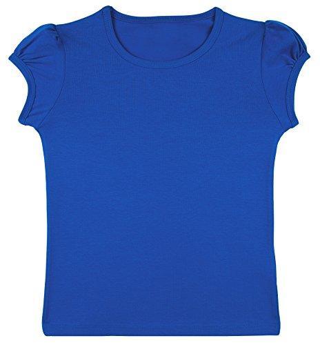 [Lovetti Girls' Basic Short Puff Sleeve Round Neck T-Shirt 3T Royal Blue] (Cute Cheerleading Outfits)
