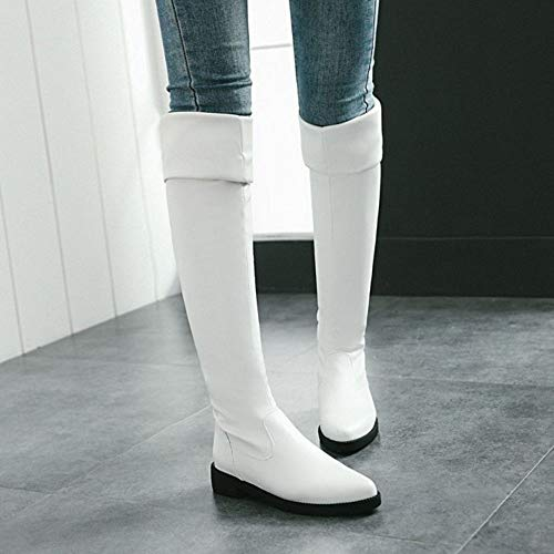 Hiver Longue Bottes 2 Mode Automne Plates Femmes Blanc Taoffen vqz5wPx