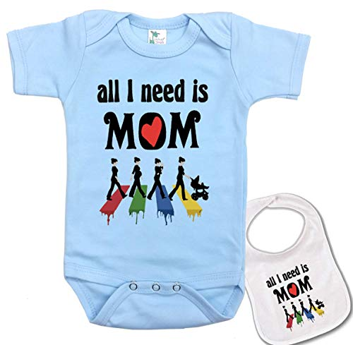 (All I Need is MOM -Love Beatles Music Baby Bodysuit Onesie & bib Set Blue)