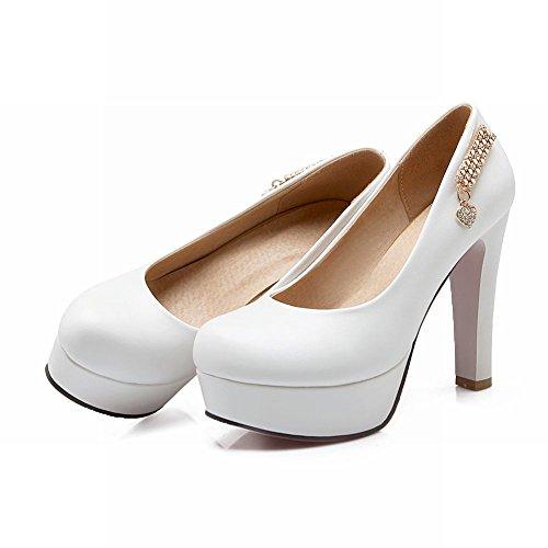 Zapatos Elegantes De La Bomba Del Talón De La Plataforma De La Mujer Del Pie De Charm Blanco