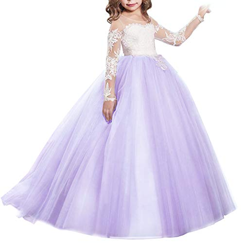 Girls Flower Lace Princess Christmas First Communion Tulle Dress for Kids Long Pageant Gown Floor Length Prom Dance Evening #I Long Sleeve Light Purple 10-11Y