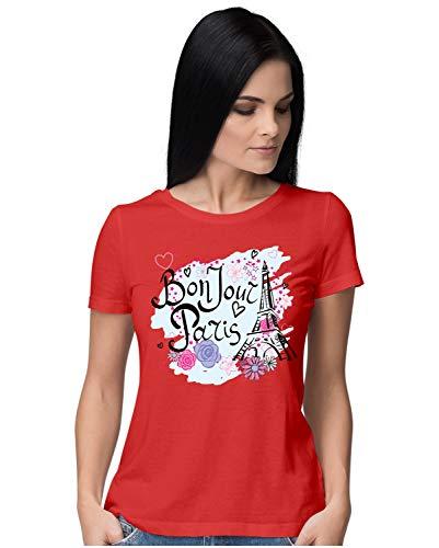 Heybroh Women's Regular Fit T-Shirt Bonjour Paris 100% Cotton T-Shirt