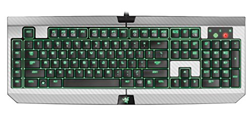 Decalrus - Protective decal for Razer BlackWidow Ultimate, 2014 Expert Gaming Keyboard WHITE Carbon Fiber Skin decal for case cover wrap CFrazerBlkWidowWhite