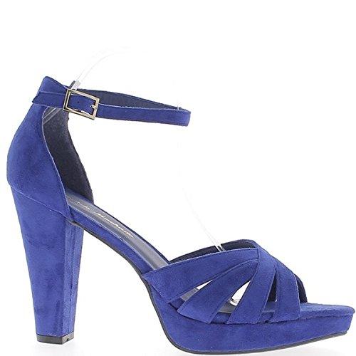 ChaussMoi Sandales Femme Grande Taille Bleues Aspect Daim Talon de 12cm Plateforme