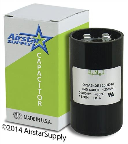 540-648 uF x 110/125 VAC - Dayton Grainger 6FLL1 Start Capacitor - BMI Replacement # 092A540B125BD4A - Made in The USA
