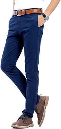 a9fe10ba1b9e INFLATION Men's 100% Cotton Slightly Stretchy Slim Fit Casual Pants, Flat  Front Trousers Dress