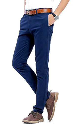 Pants Navy Slacks Blue Dress (INFLATION Men's 100% Cotton Slightly Stretchy Slim Fit Casual Pants, Flat Front Trousers Dress Pants for Men Navy Blue)