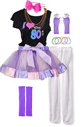 I Love 80s Pop Party Rock Star Child Girl's Costume Accessories Fancy Outfits (7-8, -