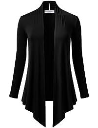 Womens Open Front Drape Hem Lightweight Long Sleeve Knit Cardigan (S-3XL)
