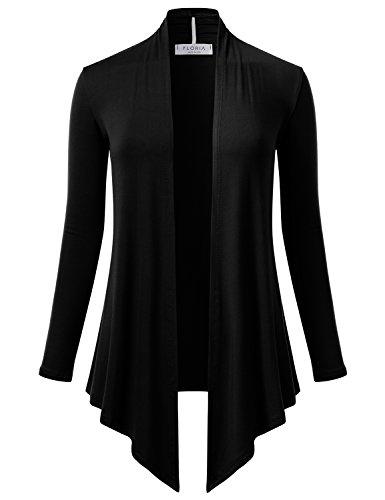 FLORIA Womens Open Front Drape Hem Lightweight Long Sleeve Knit Cardigan Black (Drape Front Short)