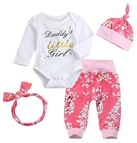 8fedfa6fc 4Pcs Newborn Baby Girls Clothes Long Sleeve Romper Letters Tops+ Flower  Pants+Headband +Hat Outfit (White, 6-12 Months)