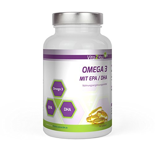 Omega 3 - 1000mg mit EPA & DHA - 180 Softgel Kapseln - Fischöl - Premium Qualität - Made in Germany