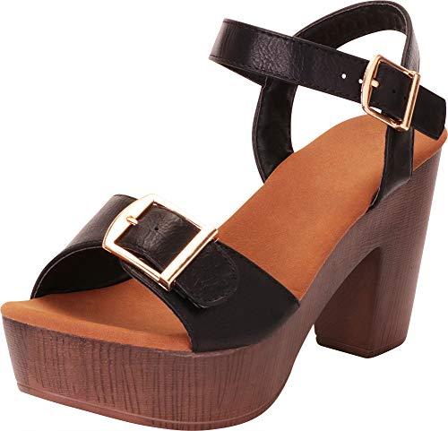 (Cambridge Select Women's Retro 70s Clog Chunky Platform Block Heel Sandal (8.5 B(M) US, Black PU))
