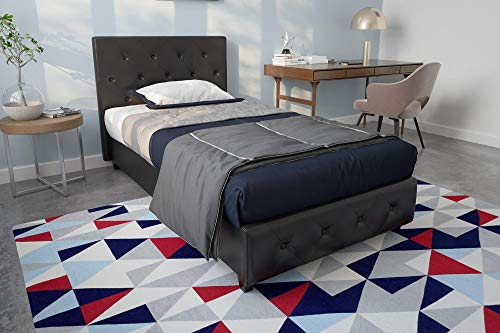 DHP Platform Bed, Dakota Faux Leather Tufted Upholstered Platform Bed - Includes Tufted Upholstered Headboard and Side Rails, Twin Platform Bed - Black Black Twin
