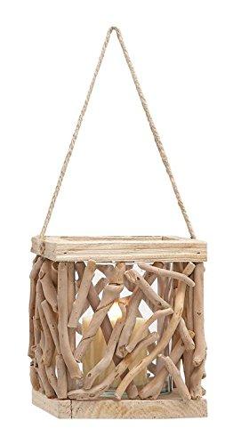 Deco 79 Wood Glass Driftwood Lantern H-76300 7 W//8 H