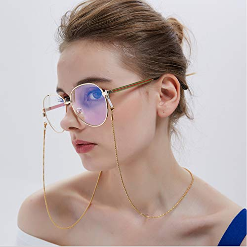 HTYX Unisex Fashion Glasses Chain Prevent Glasses from Falling Metal Spectacle Cord - Eyeglasses Decoration Stainless Steel Hollow chain-75CM,Black
