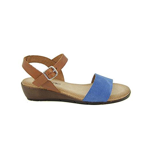 Sandalia Minicuña En Piel Azul Azul