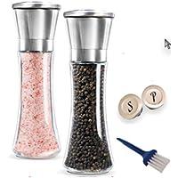 Joyquest Stainless Steel Salt and Pepper Grinder Set of 2 - Adjustable Ceramic Sea Salt Grinder & Pepper Grinder - Tall…