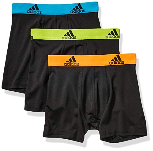 adidas Boy Sport Performance Climalite Boxer Briefs Underwear (3-Pack), Black/Solar Blue | Black/Semi Solar Slime | Black/Solar Orange, Medium ()