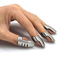 Adjustable Hand Guard Finger Protector Stainless Steel Knife Slicing Chop-Safe Kitchen Tool, Finger Guard Avoid Hurting When Slicing, Chopping and Dicing (4PCS(3pcs standard+1pcs thumb))