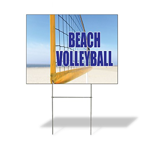 Beach Ball Yard Sign - Beach Volley Ball Outdoor Lawn Decoration Corrugated Plastic Yard Sign - 12inx18in, Free Stakes