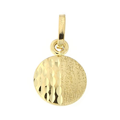 14k Yellow Gold Matte Finish and Diamond Cut Split Disc Pendant