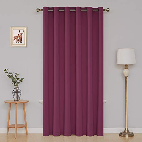 Deconovo Grommet Top Window Curtains Room Darkening Wide Curtains for Kitchen 80 x 84 Inch Fuschia 1 Panel