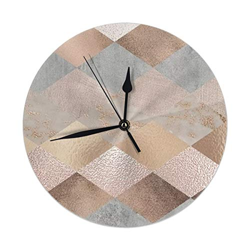 Dadi-Design Copper and Blush Rose Gold Marble Argyle Serving Tray Wall Clock Silent & Non-Ticking Quartz Clock PVC for Home Office School Decorative Round 9.8
